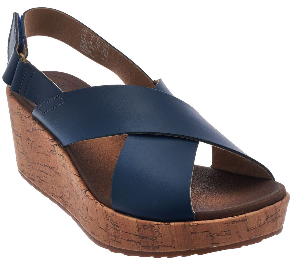 Clarks Leather Cross Band Wedge Sandals Stasha Hale