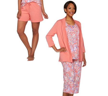 Carole Hochman Petite Floral Batik French Terry 4-Piece Pajama Set ...