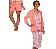 Carole Hochman Petite Floral Batik French Terry 4-Piece Pajama Set - A275321