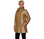 Dennis Basso Water Resistant Iridescent Crinkle Metallic Jacket - A275521