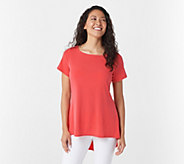 Susan Graver Liquid Knit Short Sleeve Top with Peplum Back - A276421