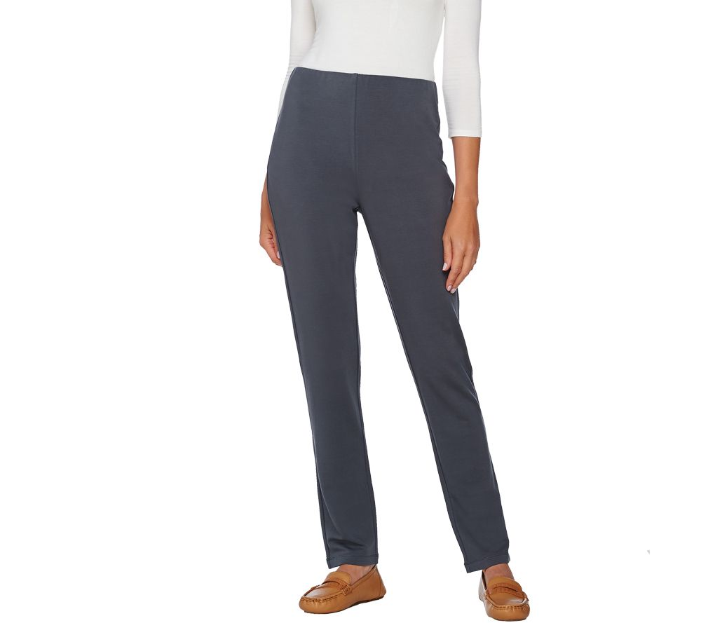 """As Is"" Susan Graver Weekend Brushed Back Knit Pants with ..."