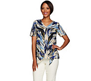 H by Halston Short Sleeve Double Layer Top - A278921