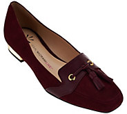 As Is Isaac Mizrahi Live! Suede Flats with Tassel Detail - A281221