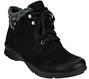 Earth Leather Lace-up Boots with Knit Trim - Davana - A284121
