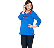 Susan Graver Weekend Embroidered French Terry Top - A286721