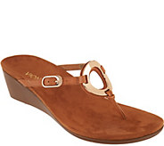 Vionic Orthotic Leather Thong Wedges - Orchid - A287721
