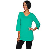 Denim & Co. Active 3/4 Sleeve V-Neck Tunic with Snap Detail - A288321