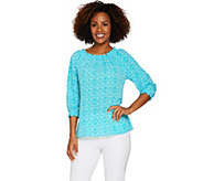 Susan Graver Printed Stretch Woven Peasant Top - A289421