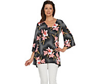 Attitudes by Renee Printed Hi-Low Bell Sleeve Knit Tunic - A290721
