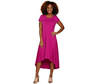 H by Halston Petite Knit Maxi Dress with Hi-Low Hem and Lace Detail - A291521