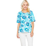 Denim & Co. Printed Scoop Neck Elbow Sleeve Top - A291621