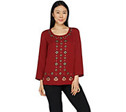 Bob Mackies Embroidered Woven Georgette Top - A293821