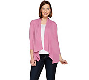 As Is Joan Rivers Drape Front Ribbed Knit Cardigan - A295121