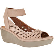 As Is Clarks Nubuck Leather Perforated Wedges - Reedly Salene - A296921