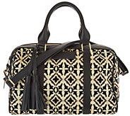 Mushmina Woven Pattern & Leather Satchel - A297021