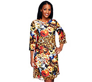 As Is George Simonton Printed Woven Dress with 3/4 Sleeves - A299121