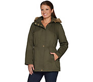Susan Graver Cotton Anorak Jacket with Sherpa Lining - A299321