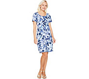 As Is Isaac Mizrahi Live! SOHO Short Slv. Floral Camo Print Dress - A300221