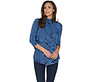 Susan Graver Printed Liquid Knit Mock Neck Tiered Tunic - A300521