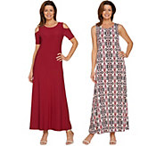 As Is Attitudes by Renee Regular Sld & Prntd Set of Two Dresses - A301821
