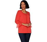 Susan Graver Liquid Knit Top with Crochet Trim - A302621