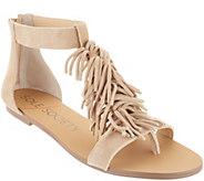 Sole Society Suede Fringe Flat Sandals - Koa - A305021