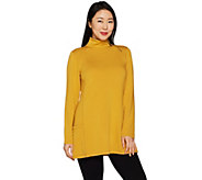 As Is Susan Graver Weekend Brushed Back Knit Mock Neck Tunic - A306621