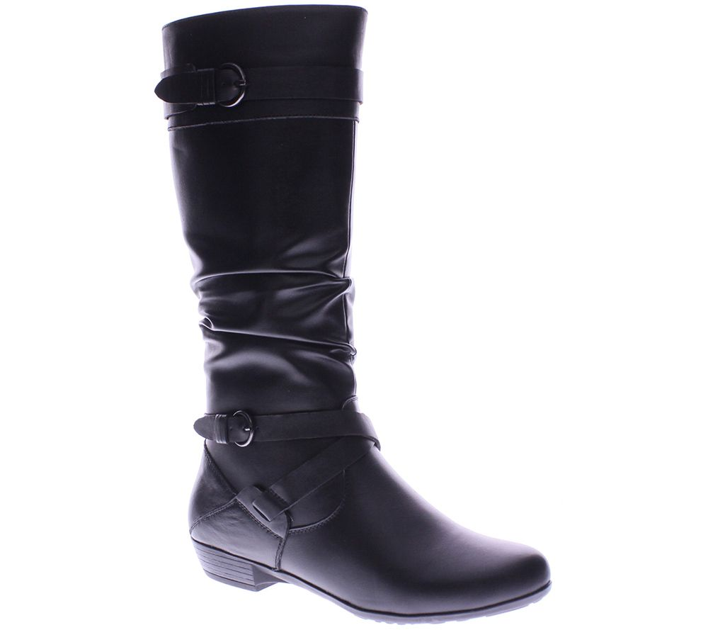step slouch leather boots abena qvc
