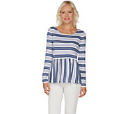 As Is Du Jour Stripe Printed Long Sleeve Knit Peplum Top - A341921