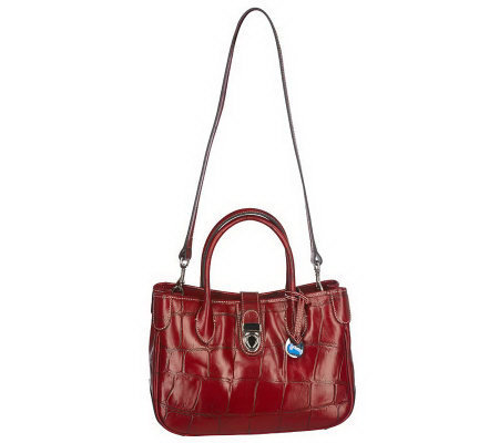 Dooney & Bourke Croco Embossed Small Leather Double Handle Tote