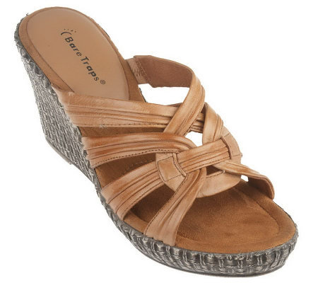 Bare Traps Leather Wedge Sandals w/ Ruched Detail