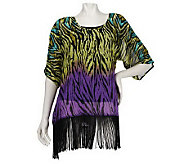 M by Marc Bouwer Printed Top w/Fringe Detail and Cami - A221622