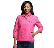 Denim & Co. 3/4 Sleeve Colored Denim Jean Jacket - A223022