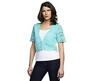Denim & Co. Short Sleeve Crochet Shrug w/ Hook & Eye Closure - A232022