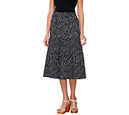 Susan Graver Printed Crinkled Polyester Tiere Pull On Skirt - A233722
