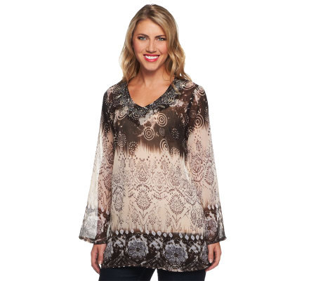 Susan Graver Printed Chiffon Tunic with 3/4 Bell Sleeves
