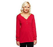 Susan Graver Essentials V-Neck Henley Sweater - A237022