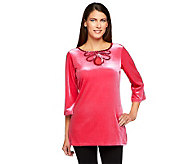 Quacker Factory Stretch Velvet Mesh Keyhole Tunic with Sequin Trim - A238022