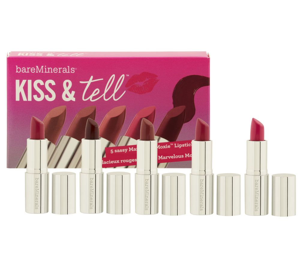 bareMinerals Kiss & Tell 5 Piece Mini Marvelous Moxie Lipstick Kit