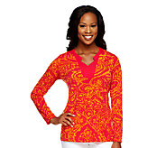 Susan Graver Liquid Knit Printed Long Sleeve Top w/ Split Neck - A251322