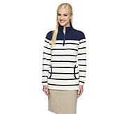 Denim & Co. Active Striped French Terry Half Zip Sweatshirt - A251622