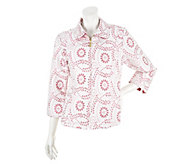 Bob Mackies Eyelet Design Cotton Jacquard 3/4 Sleeve Jacket - A252322