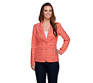 Liz Claiborne New York Striped Blazer with Pockets - A253222