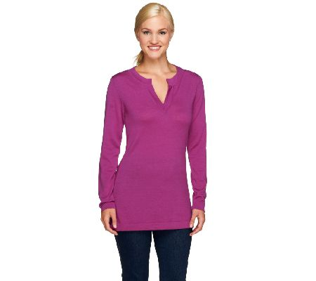 Isaac Mizrahi Live! Merino Wool Split Neck Tunic Sweater - A257522