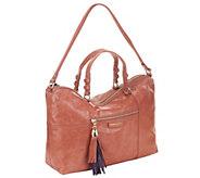 As Is B. Makowsky Kel Glazed Leather Zip Top Satchel - A262322