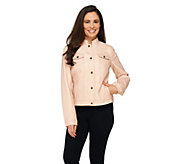 Dennis Basso Faux Leather Snap Front Jacket with Stand Collar - A262722