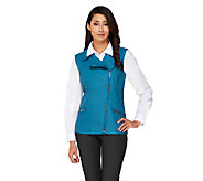 Dennis Basso Faux Leather Moto Vest with Zip Pockets - A262922
