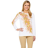 Bob Mackies Long Sleeve Floral Printed Pullover Sweater - A263722