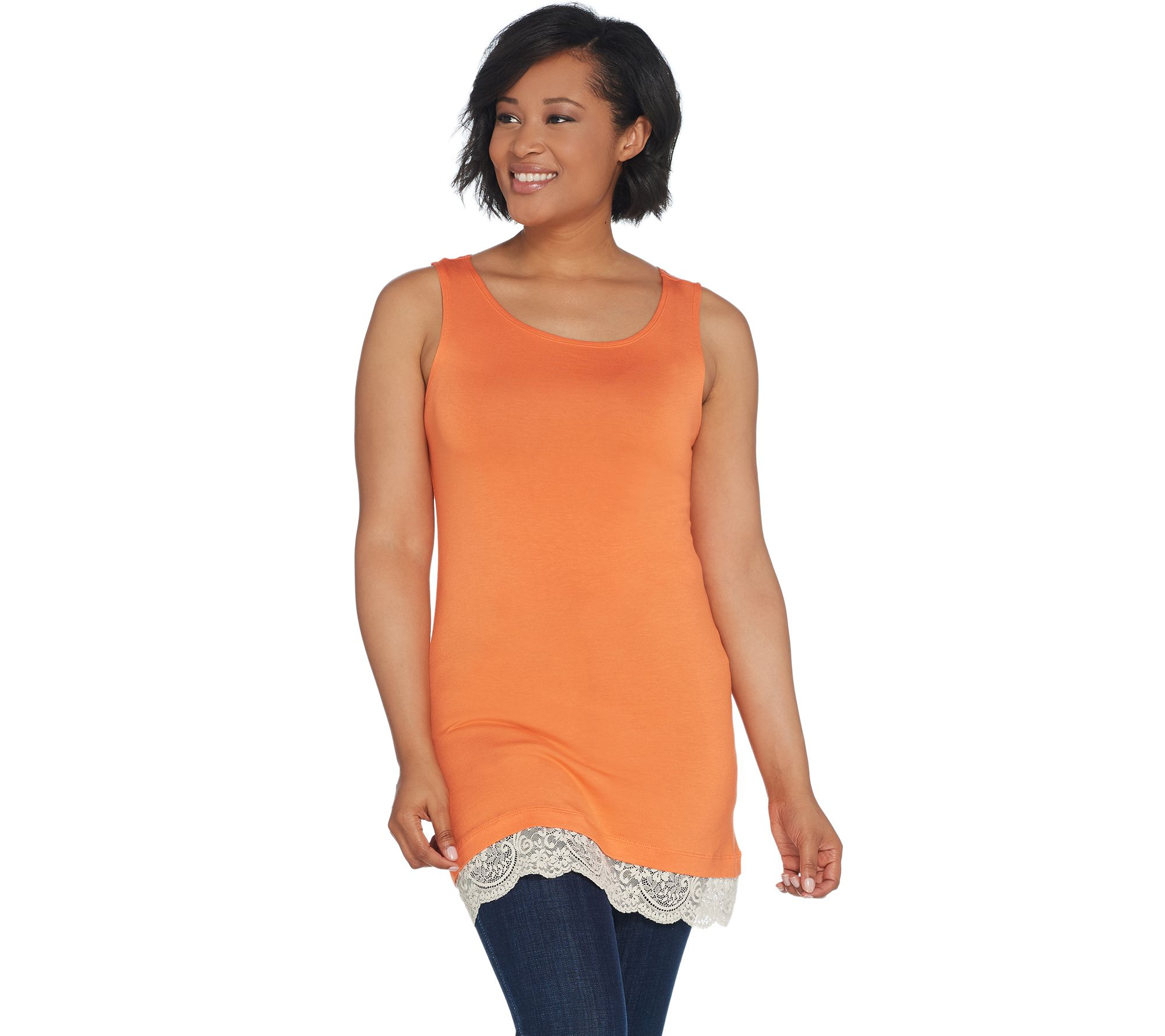 logo layers by lori goldstein straight hem knit tank with lace trim page 1 qvc com